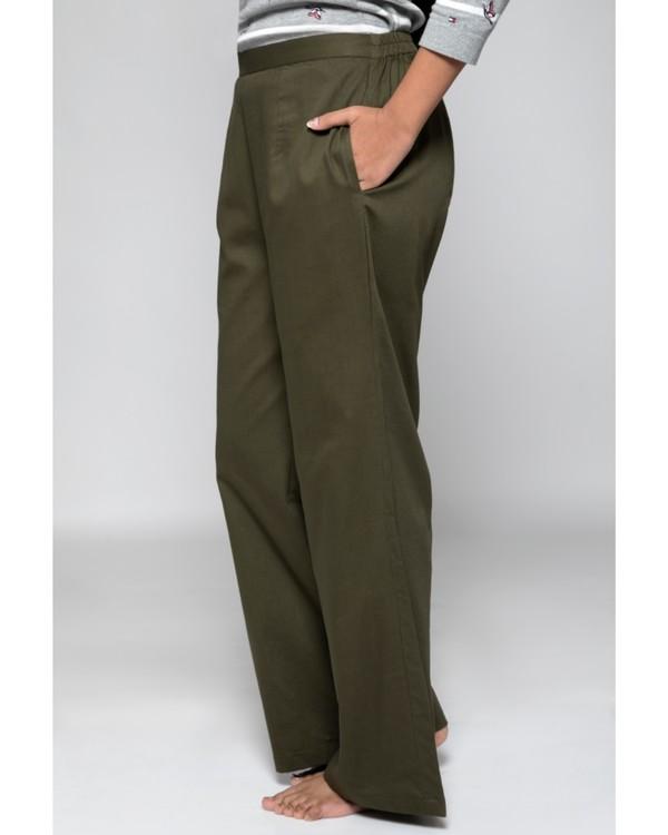 Olive green high waist pants 2