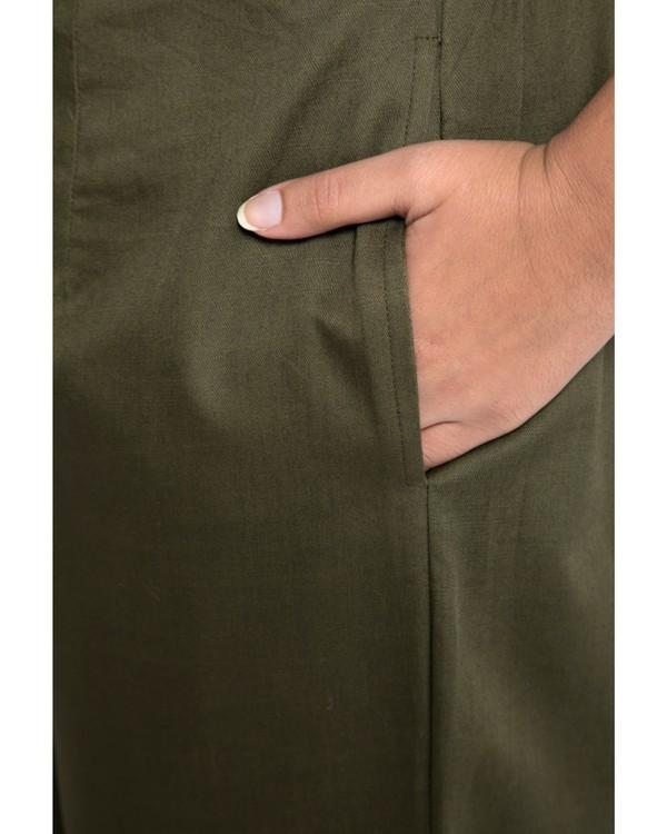 Olive green high waist pants 1