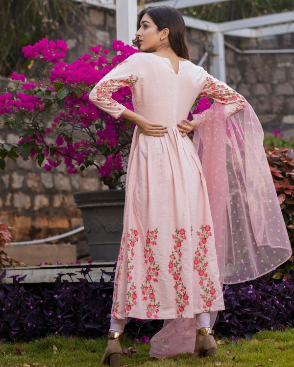 Baby pink panel embroidered gathered dress with net dupatta - set of two 3