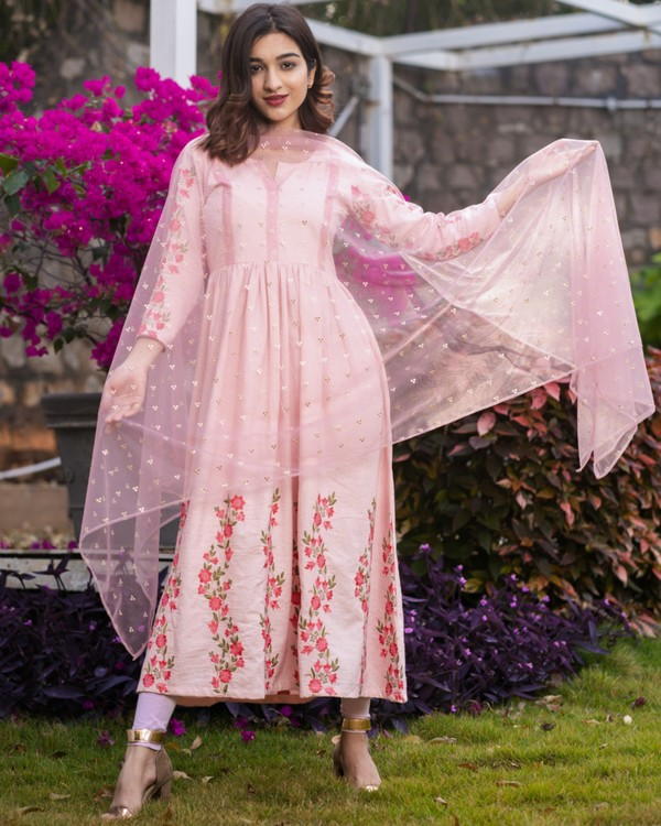 Baby pink panel embroidered gathered dress with net dupatta - set of two 2