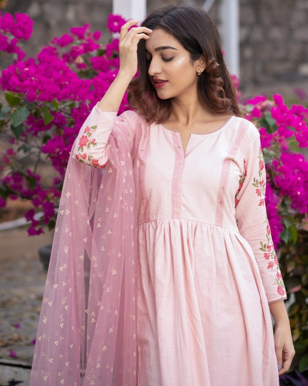 Baby pink panel embroidered gathered dress with net dupatta - set of two 1