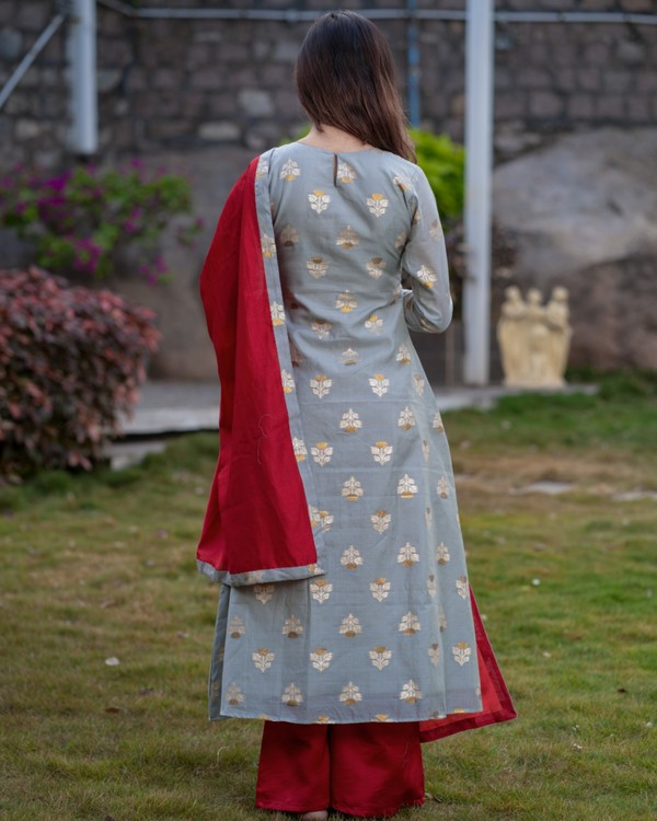 Grey front slit brocade kurta with red palazzo and dupatta - set of three 3