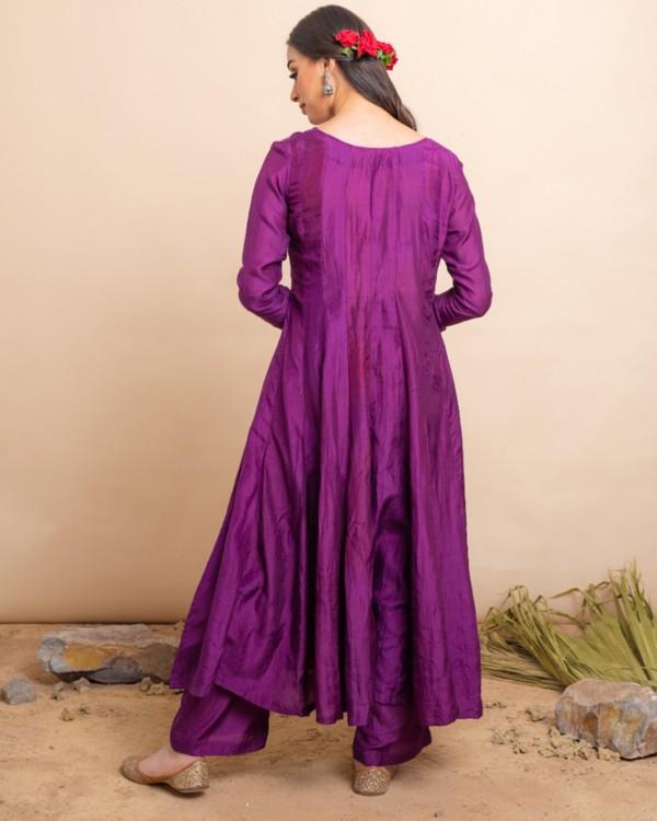 Purple flared anarkali and palazzo with blue dupatta set- set of three 3