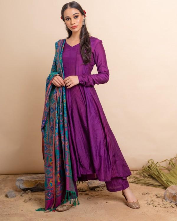 Purple flared anarkali and palazzo with blue dupatta set- set of three 2