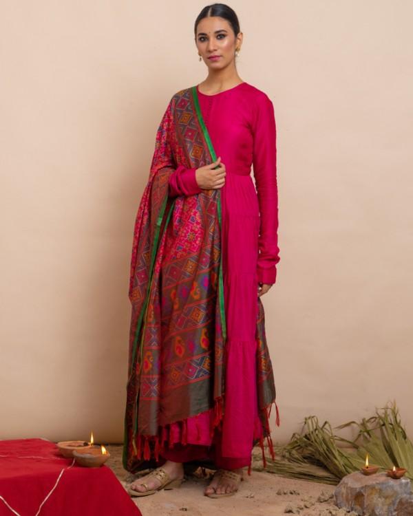 Rani pink tiered anarkali and palazzo with dupatta set- set of three 3