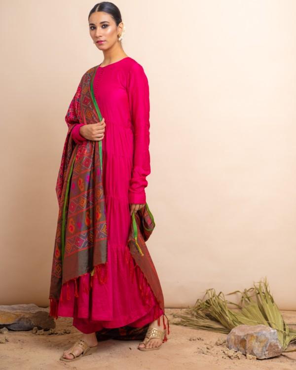 Rani pink tiered anarkali and palazzo with dupatta set- set of three 2