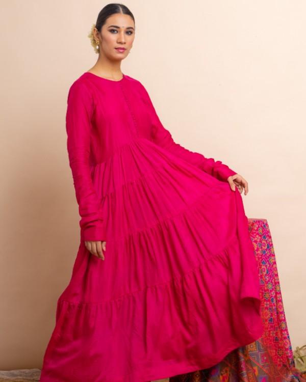 Rani pink tiered anarkali and palazzo with dupatta set- set of three 1