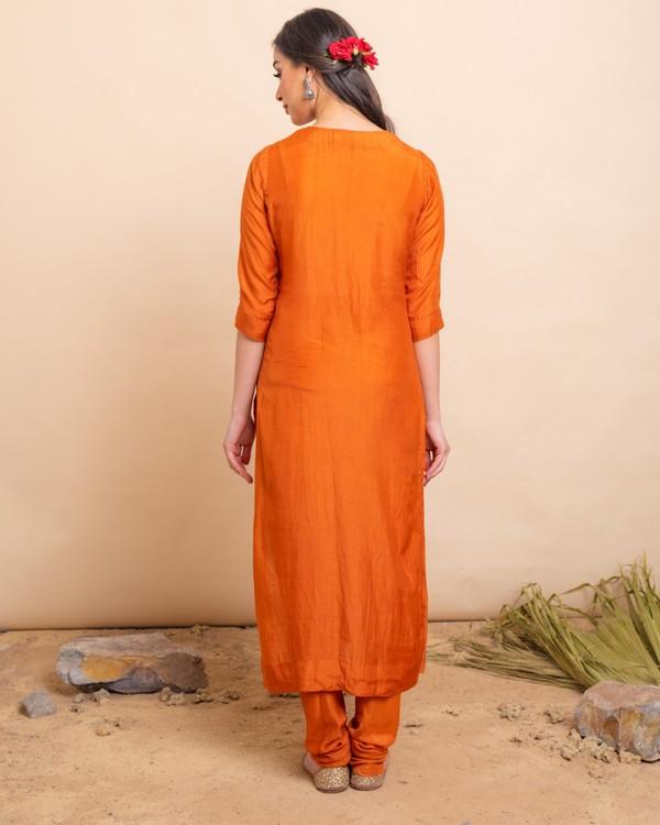 Gold orange straight kurta and pants with dupatta set- set of three 3