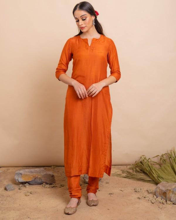 Gold orange straight kurta and pants with dupatta set- set of three 2