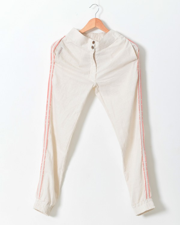 White contrast detailed pants 1