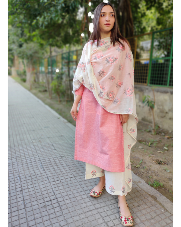 Peach and White Cotton Suit Set with Embroidered Dupatta - Set of Three 5