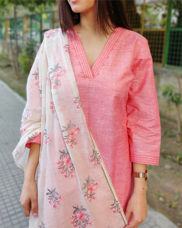 Peach and White Cotton Suit Set with Embroidered Dupatta - Set of Three 4