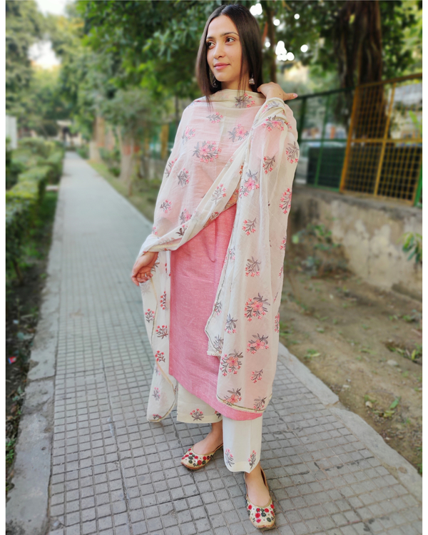Peach and White Cotton Suit Set with Embroidered Dupatta - Set of Three 1