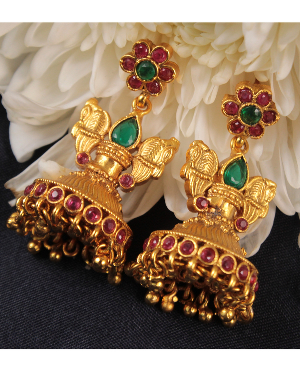 Lakshmi and peacock motif necklace and earring set - set of two 2