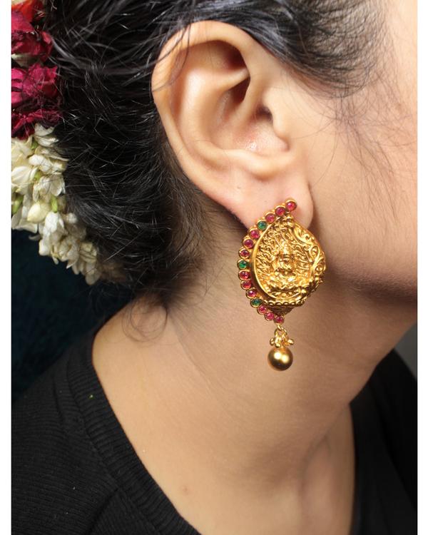 Lakshmi temple motif necklace and earrings set - set of two 2