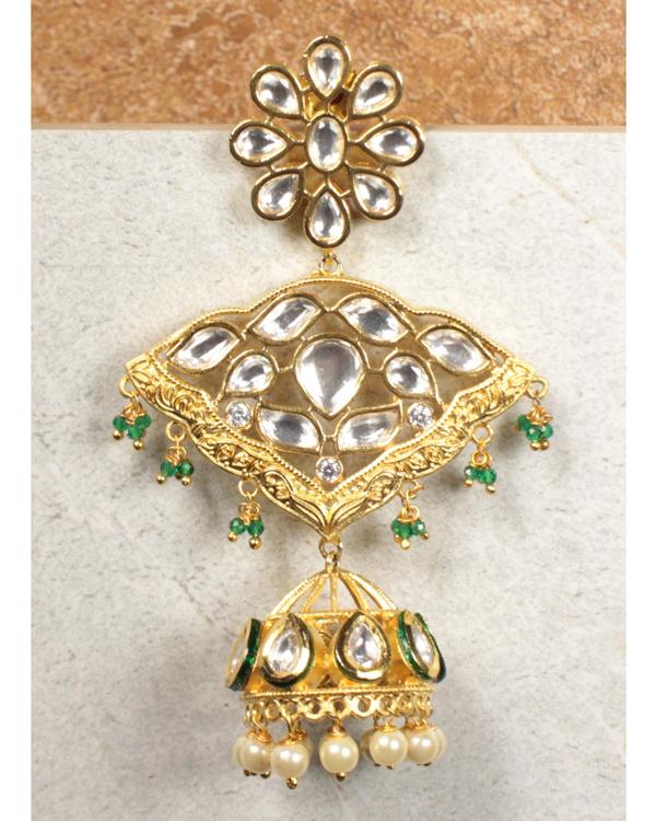 Kundan and pearl beads jhumkas 1