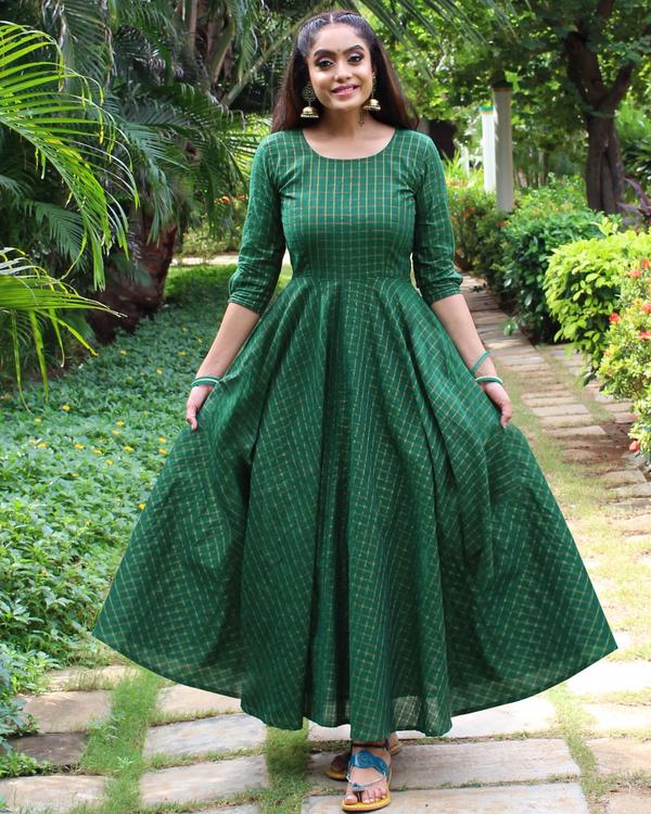 Pine green checkered handloom anarkali dress 1