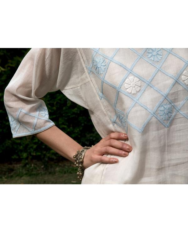 Off white and powder blue checkered yoke kalidar kurta 2