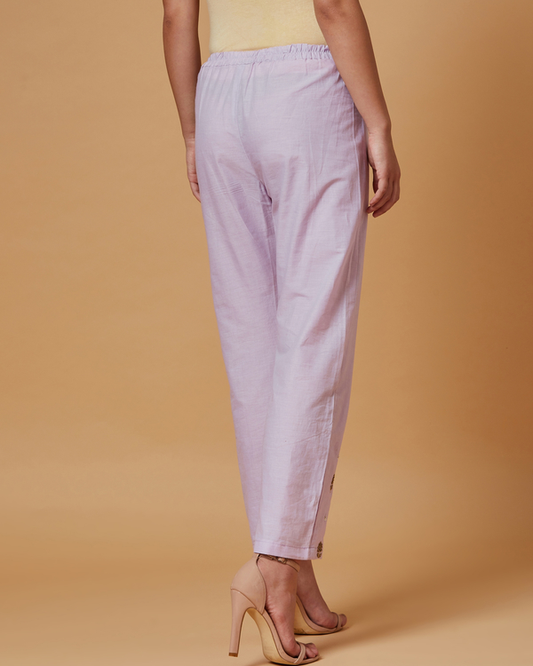 Lilac floral boota embroidered pants 2