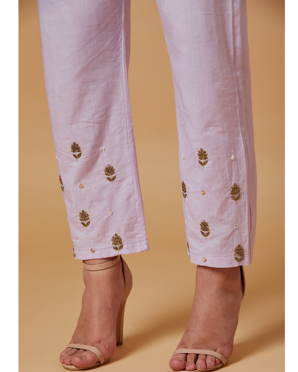 Lilac floral boota embroidered pants 1