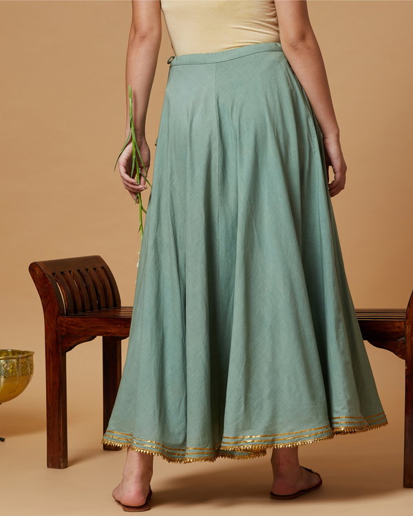 Jade green gota detailed skirt 2
