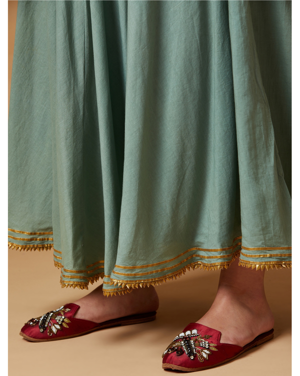 Jade green gota detailed skirt 1
