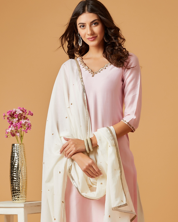 Pearl pink embroidered chanderi kurta 1