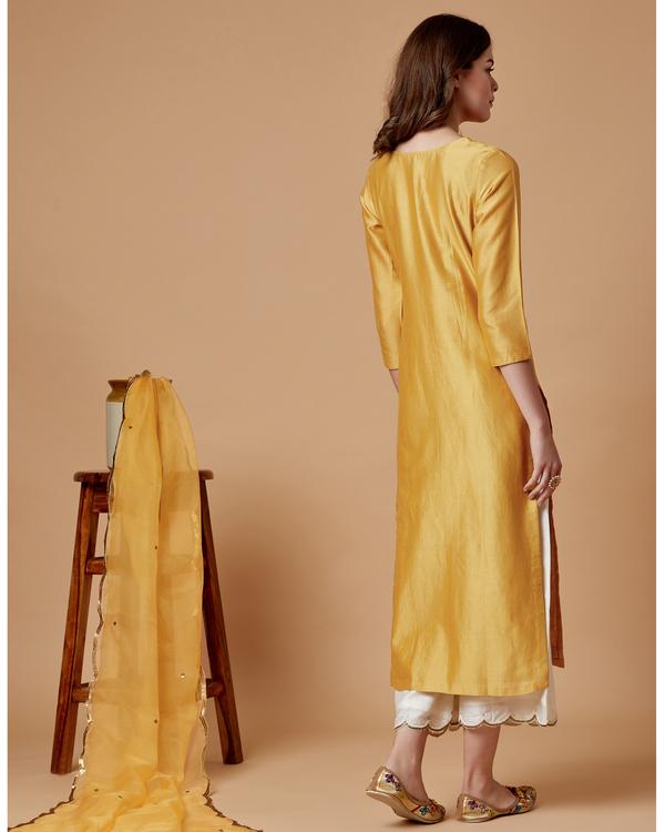 Yellow boota chanderi kurta 3