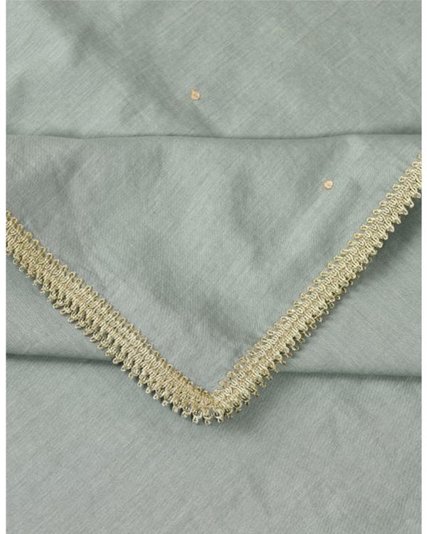Jade green lace detailed dupatta 1