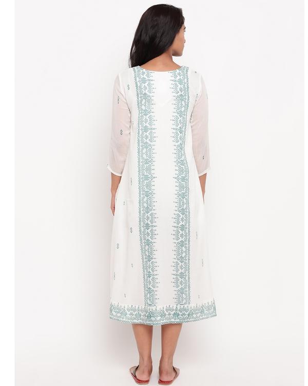 White and sea green panel printed dress 3