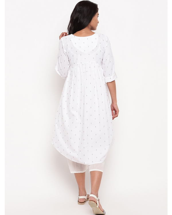 White printed cotton kurta 3