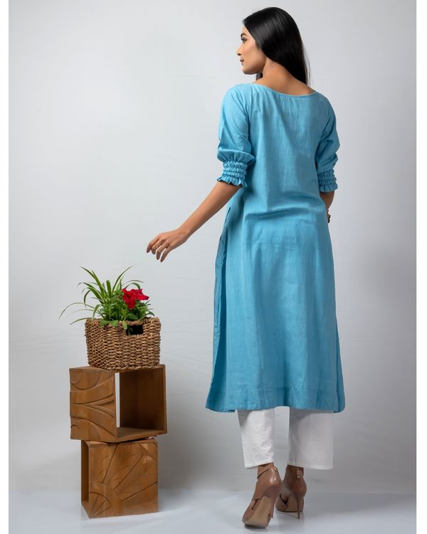 Blue polka applique kurta 3