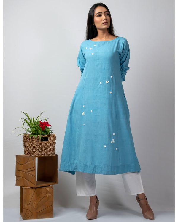 Blue polka applique kurta 2