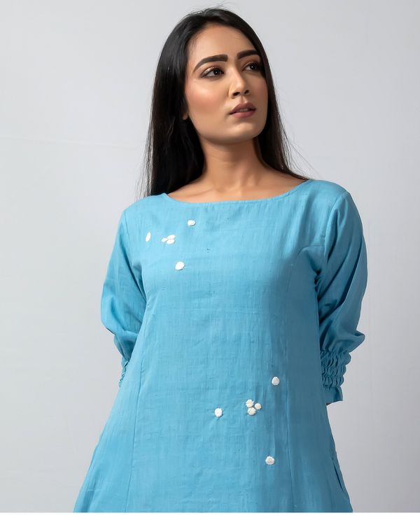 Blue polka applique kurta 1