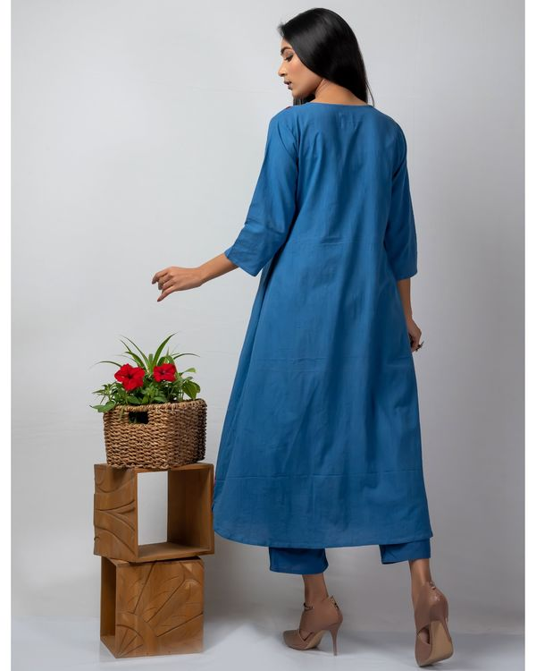 Blue applique front open jacket and kurta with pants set- Set Of Three 2