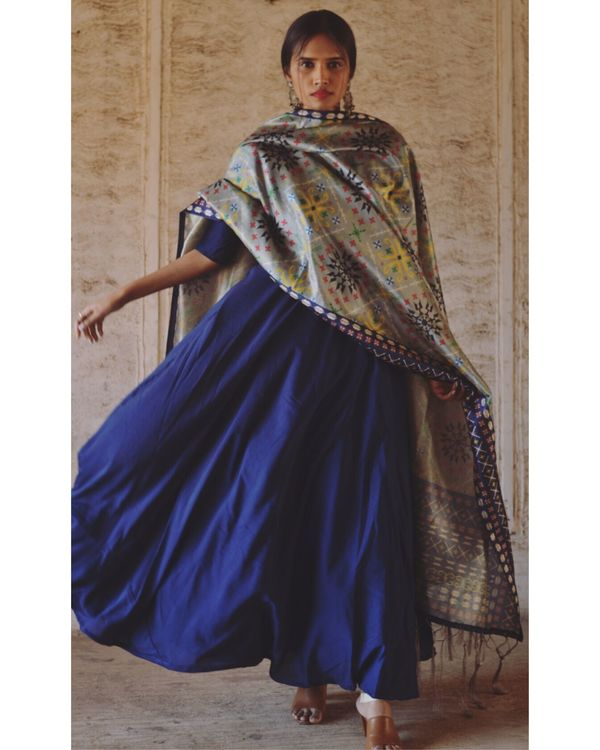 Navy blue flared dress and dupatta set- Set Of Two 2
