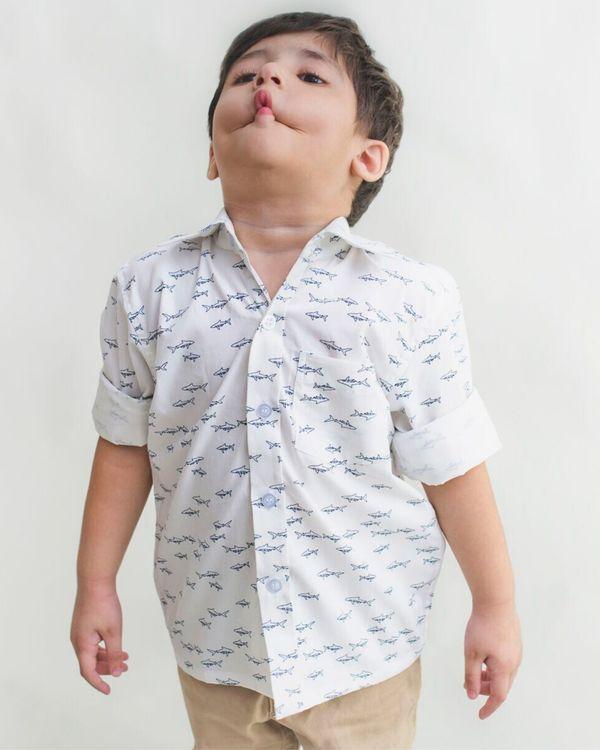 White fish printed shirt 1