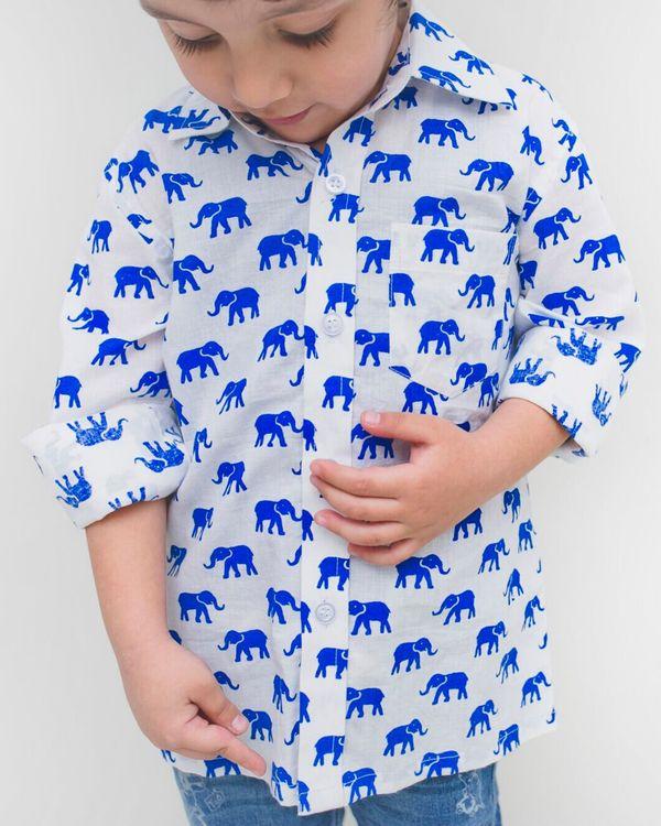 White and blue elephant printed shirt 1