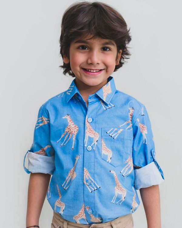 Blue giraffe printed shirt 1