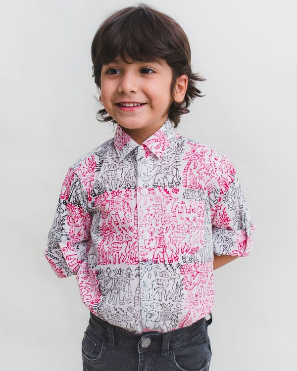 Pink and black fauna printed cotton shirt 1