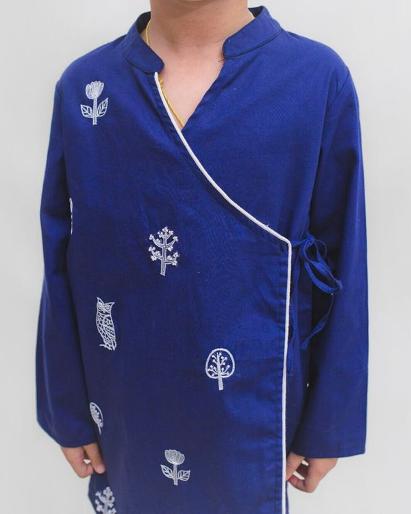 Royal blue owl embroidered angrakha kurta and Pyjama Set - Set Of Two 1