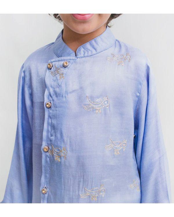 Cornflower blue bird embroidered asymmetrical kurta and Pyjama Set - Set Of Two 1