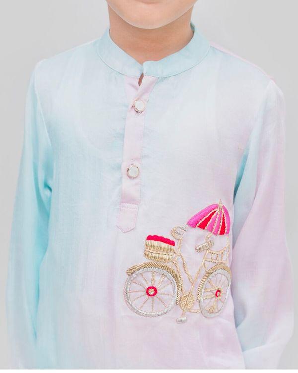 Light blue and pink bicycle embroidered kurta and Pyjama Set - Set Of Two 1