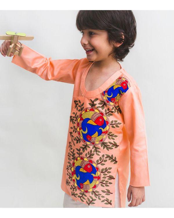 Peach madhubani hand painted kurta and Pyjama Set - Set Of Two 1