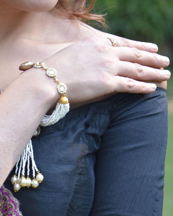 Baroque pearls and beads tassel bracelet 1
