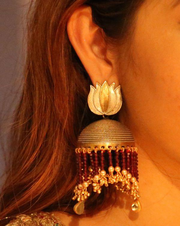 Lotus motif and lush pearls jhumka 1