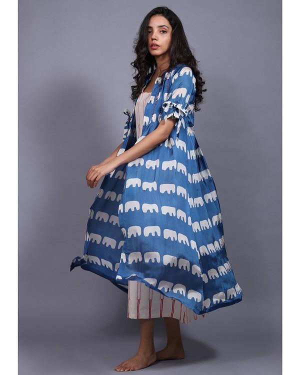 Blue and white printed habutai jacket and printed dress set- Set Of Two 2