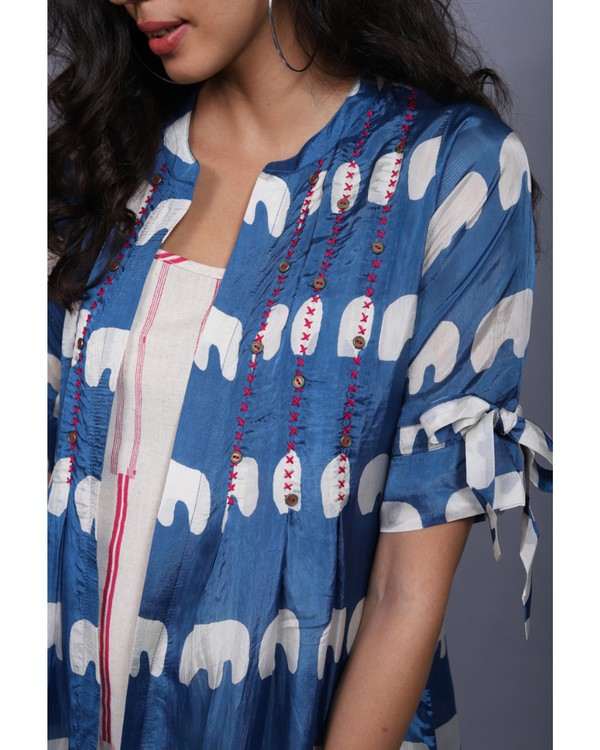 Blue and white printed habutai jacket and printed dress set- Set Of Two 1