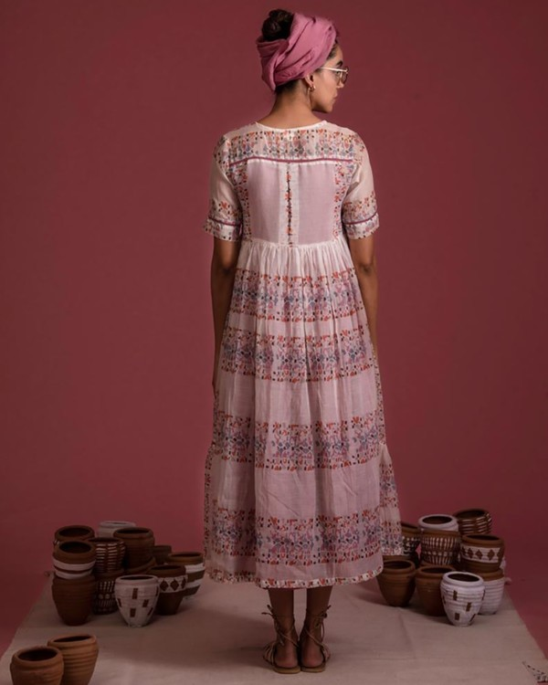 Mauve tiered chanderi dress with inner set- Set Of Two 2
