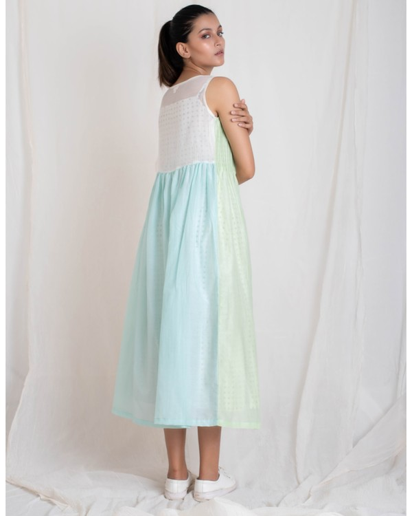 Aqua and light green panel jacket and tiered dress set- Set Of Two 3